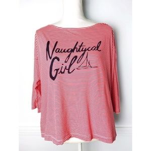 French Connection • Red Stripe Naughtycal Girl Tee